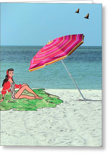 Beach Photos Drawings Greeting Cards - Beach Vacation Greeting Card by Rosalie Scanlon
