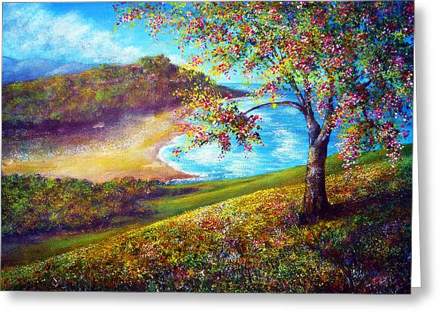 Kinkade Greeting Cards - Beach View Greeting Card by Ann Marie Bone