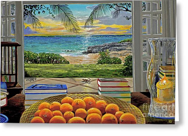 Miami Paintings Greeting Cards - Beach View Greeting Card by Carey Chen