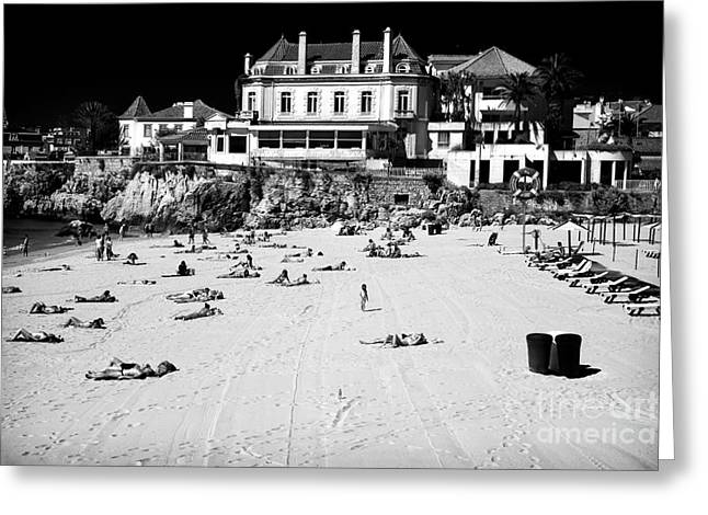 Old School House Greeting Cards - Beach View in Cascais Greeting Card by John Rizzuto