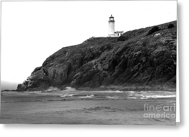 Haybale Greeting Cards - Beach View of North Head Lighthouse Greeting Card by Robert Bales
