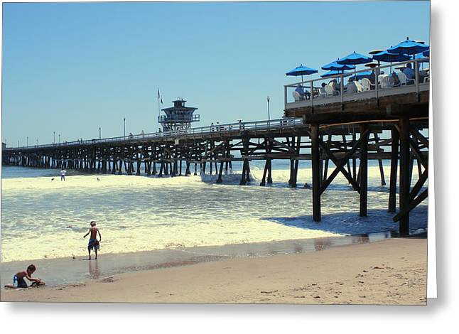 Beach View With Pier 1 Greeting Card by Ben and Raisa Gertsberg