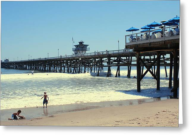 Clemente Greeting Cards - Beach View With Pier 1 Greeting Card by Ben and Raisa Gertsberg