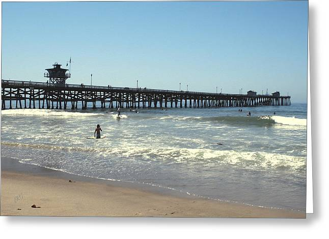 Clemente Greeting Cards - Beach View With Pier 2 Greeting Card by Ben and Raisa Gertsberg