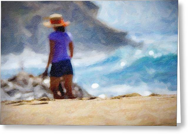 California Beach Art Greeting Cards - Beach Walk Art Greeting Card by Vicki Jauron