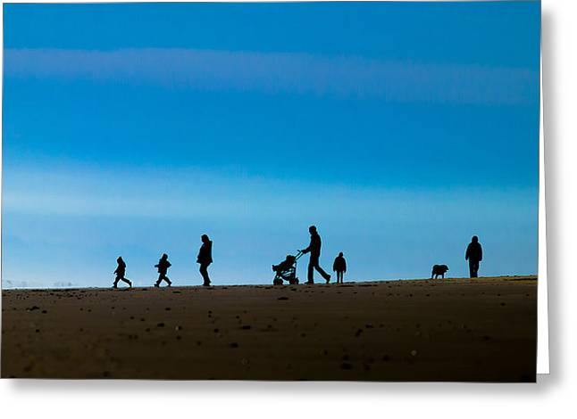 Poster Art Greeting Cards - Beach walk Greeting Card by Jb Atelier