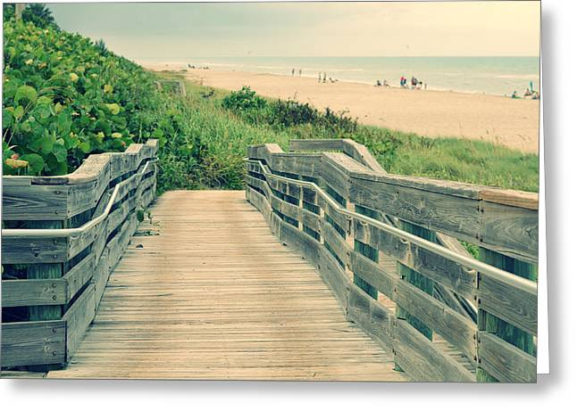 Beach Walk Greeting Card by Laura Fasulo