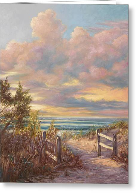 Beach Scenery Greeting Cards - Beach Walk Greeting Card by Lucie Bilodeau