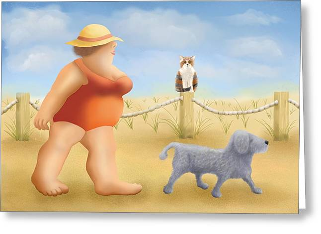 Dog Beach Print Greeting Cards - Beach walk Greeting Card by Marlene Watson