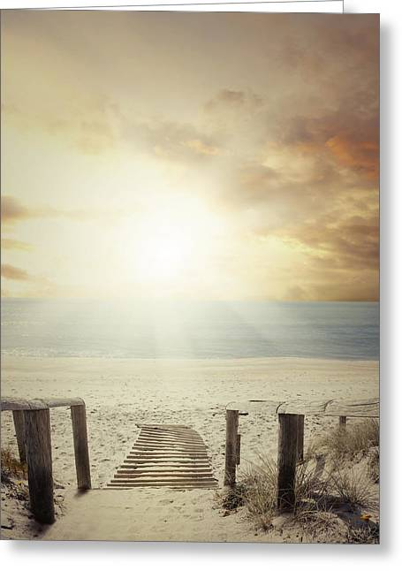 Moody Beach Greeting Cards - Beach walkway Greeting Card by Les Cunliffe