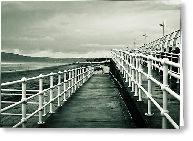 Ocean Panorama Photographs Greeting Cards - Beach walkway Greeting Card by Tom Gowanlock