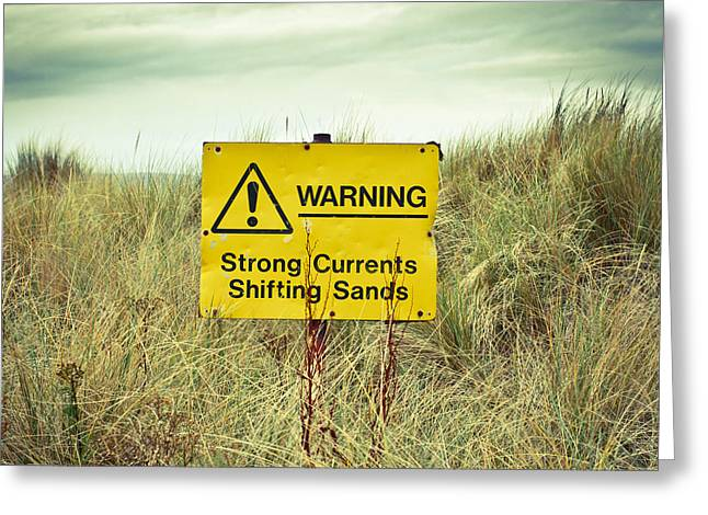 Breezy Greeting Cards - Beach warning sign Greeting Card by Tom Gowanlock