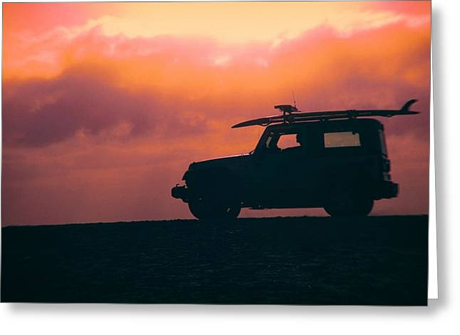 Jeeps Greeting Cards - Beach Watch Greeting Card by Peter Tellone
