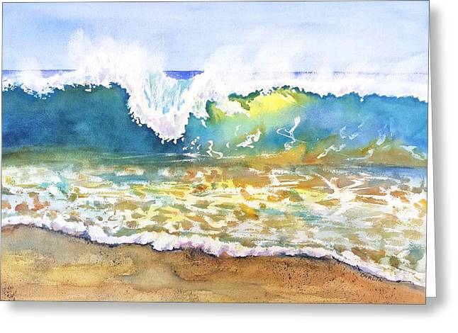 Beach Theme Decorating Greeting Cards - Beach Wave - Invitation to Surf Greeting Card by Carlin Blahnik