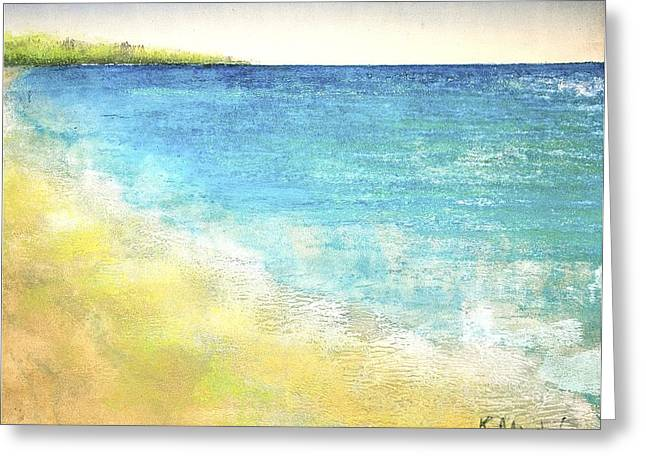 Viridian Greeting Cards - Beach Waves Greeting Card by Kaata    Mrachek