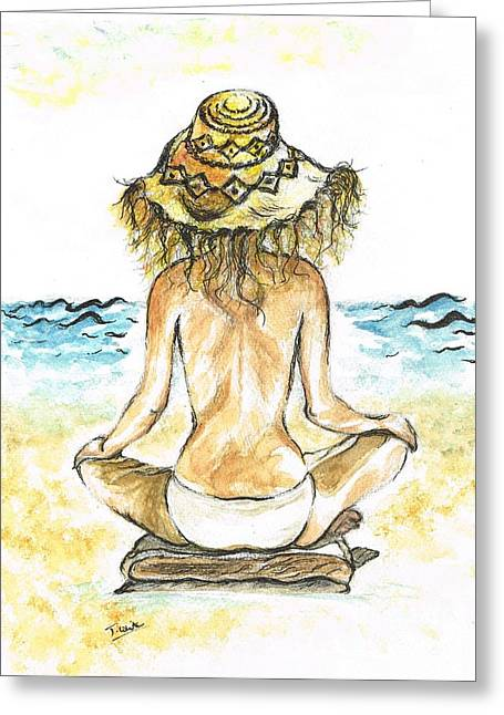 Sun Hat Mixed Media Greeting Cards - Beach Yoga Greeting Card by Teresa White