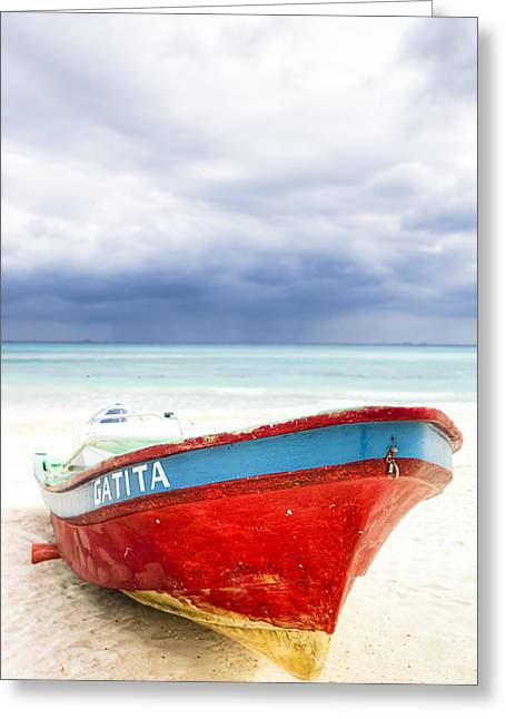 Playa Greeting Cards - Beached Beyond The Storm - Riviera Maya Greeting Card by Mark Tisdale