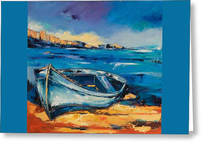On The Beach Greeting Cards - Beached Blue Greeting Card by Elise Palmigiani
