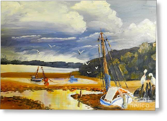 Pamela Meredith Greeting Cards - Beached Boat and Fishing Boat at Gippsland Lake Greeting Card by Pamela  Meredith