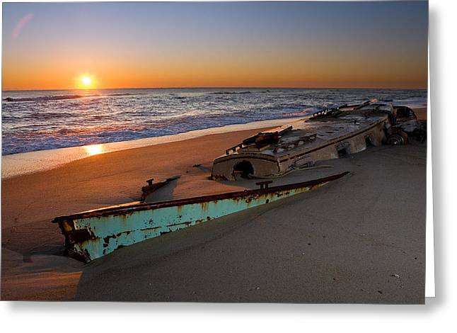 Pea Island Greeting Cards - Beached Boat at Sunrise I - Outer Banks Greeting Card by Dan Carmichael