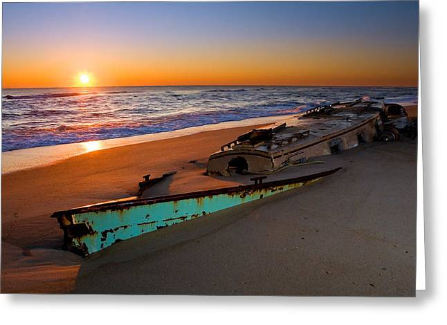Pea Island Greeting Cards - Beached Boat at Sunrise II - Outer Banks Greeting Card by Dan Carmichael