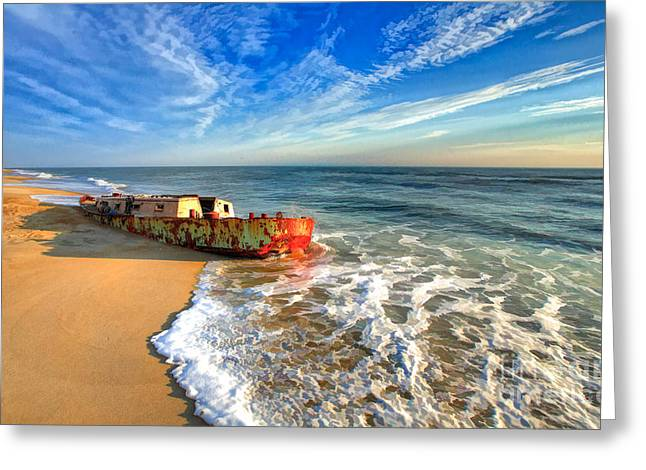 Pea Island Greeting Cards - Beached Boat Morning - Outer Banks Greeting Card by Dan Carmichael