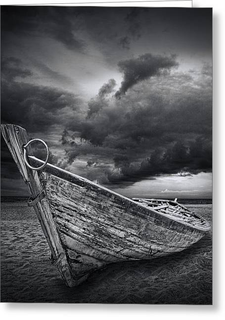 Randy Greeting Cards - Beached Boat with Storm Brewing Greeting Card by Randall Nyhof