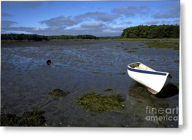 Beached Fishing Boat Greeting Card by Thomas R Fletcher