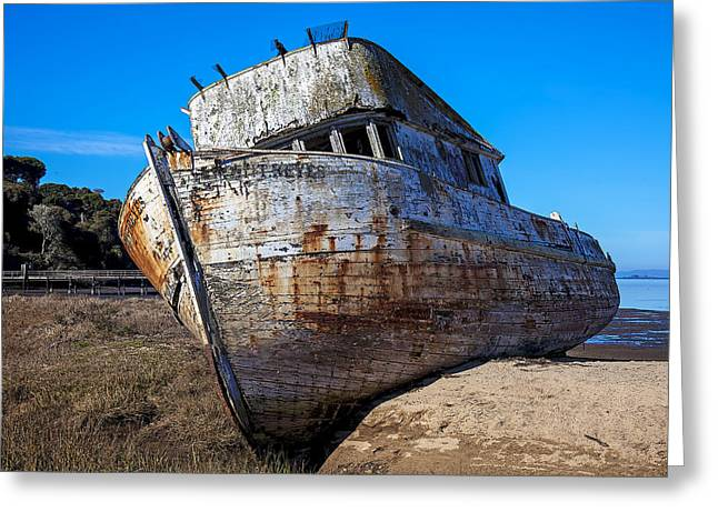 Ship-wreck Greeting Cards - Beached Point Reyes Greeting Card by Garry Gay
