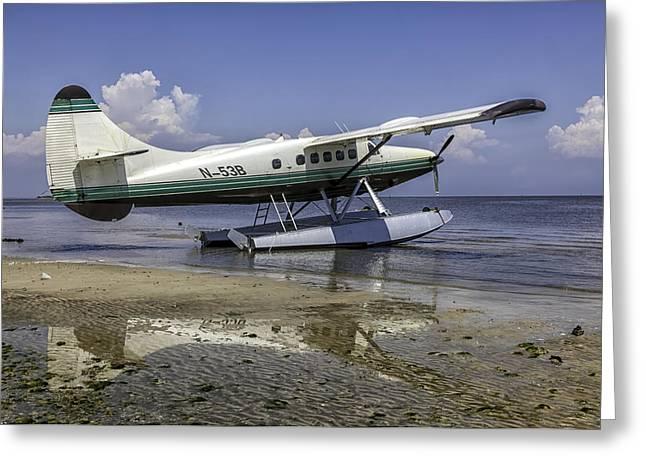 Cedar Key Greeting Cards - Beached Pontoon Sea Plane Greeting Card by Lynn Palmer