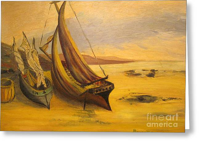 Beached Sail Boats - Original Oil Painting Greeting Card by Anthony Morretta