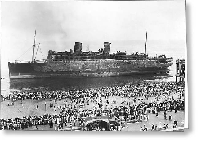 Ss Unites States Greeting Cards - Beached SS Morro Castle Greeting Card by Underwood Archives