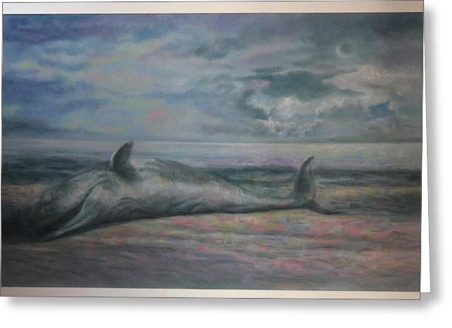 Whale Pastels Greeting Cards - Beached Whale Greeting Card by Paez  Antonio