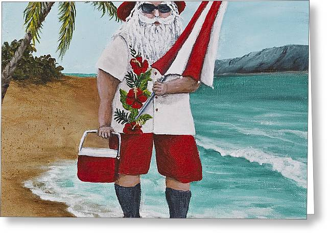 Beachen Santa Greeting Card by Darice Machel McGuire