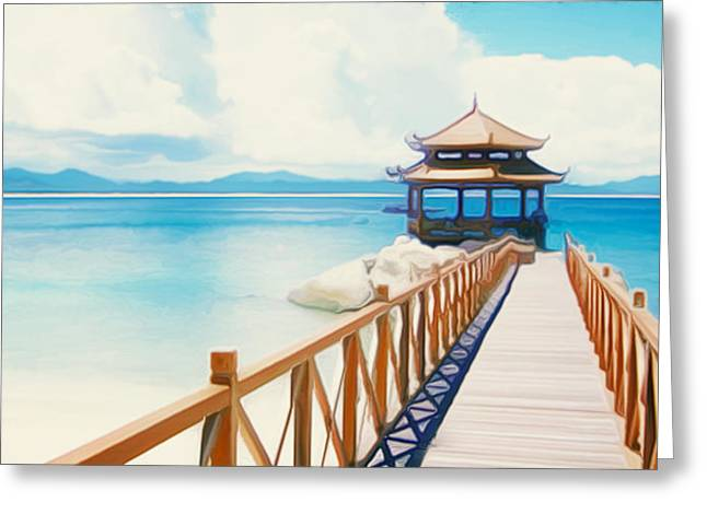 Southern Province Paintings Greeting Cards - Beaches of Wuzhizhou Island Greeting Card by Lanjee Chee