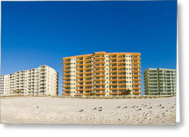 Orange Beach Greeting Cards - Beachfront Buildings On Gulf Of Mexico Greeting Card by Panoramic Images