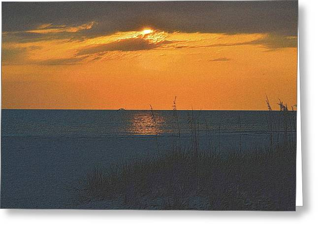 Sunset Framed Prints Drawings Greeting Cards - Beachscape 2 Greeting Card by Richard Zentner