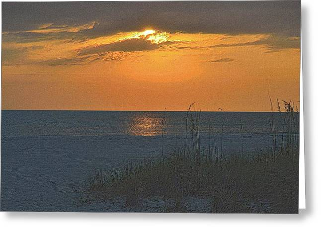 Sunset Framed Prints Drawings Greeting Cards - Beachscape Greeting Card by Richard Zentner