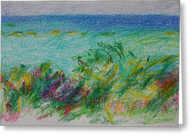Mediterranean Landscape Drawings Greeting Cards - Beachview Cyprus Greeting Card by Anita Dale Livaditis