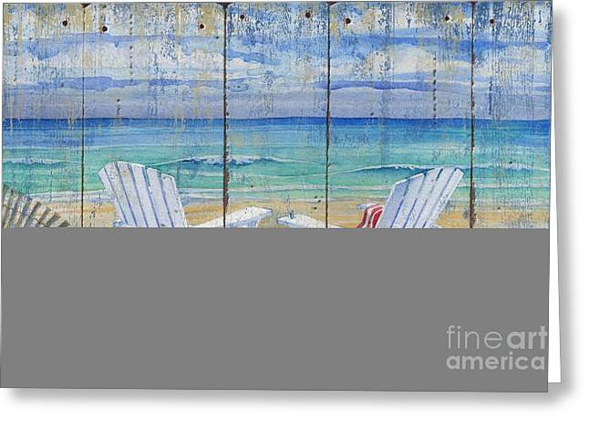 Ocean Shore Paintings Greeting Cards - Beachview Distressed Greeting Card by Paul Brent