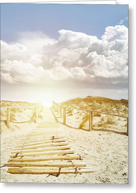 Adventure Photographs Greeting Cards - Beachwalk Greeting Card by Les Cunliffe