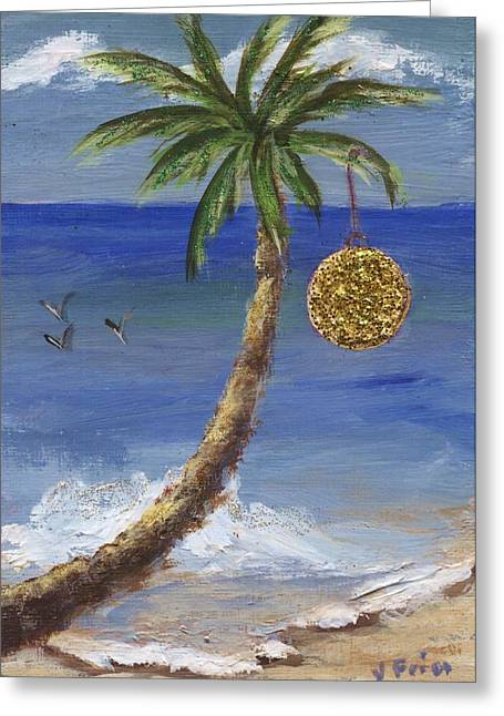 Blue Green Wave Greeting Cards - Beachy Christmas Greeting Card by Jamie Frier
