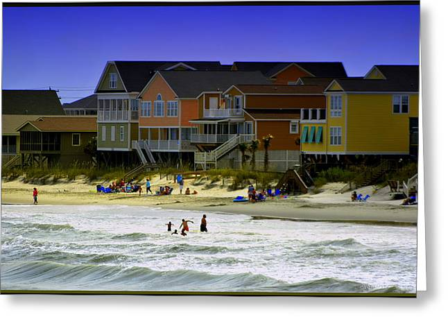Surf City Greeting Cards - Getting Beachy at Garden City SC Greeting Card by Kathy Barney