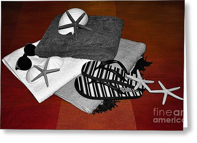 Beach Towel Greeting Cards - Beachy Things - Black and White on Red Greeting Card by Kaye Menner