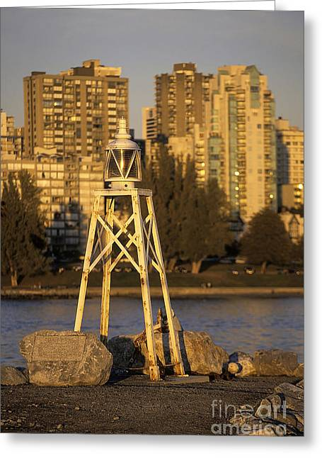 Burrard Inlet Greeting Cards - Beacon and skyscrapers in Vancouver Canada Greeting Card by Ryan Fox