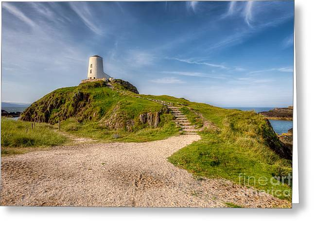 Stepping Stones Greeting Cards - Beacon at Llanddwyn Greeting Card by Adrian Evans