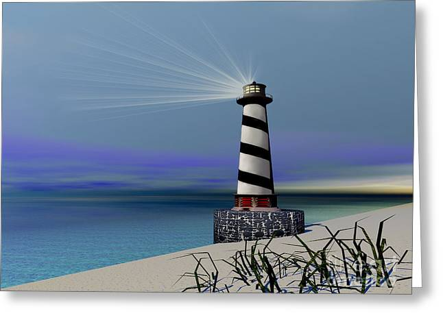 Wave Image Greeting Cards - Beacon Greeting Card by Corey Ford
