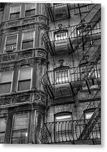 Old And New Greeting Cards - Beacon Hill Brownstone Tenement - Boston Greeting Card by Joann Vitali