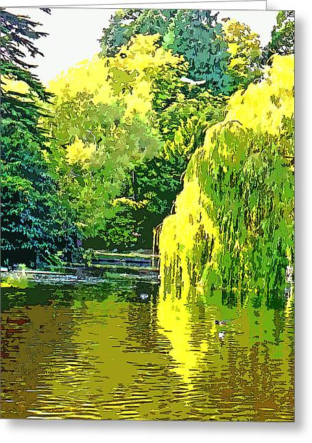 Recently Sold -  - Willow Lake Greeting Cards - Beacon Hill Park Serenity Greeting Card by Paul Price