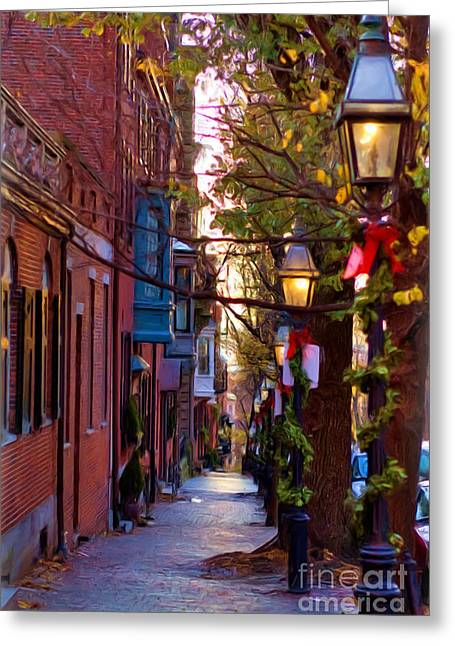 Holiday Decoration Greeting Cards - Beacon Hill Streets Greeting Card by Joann Vitali